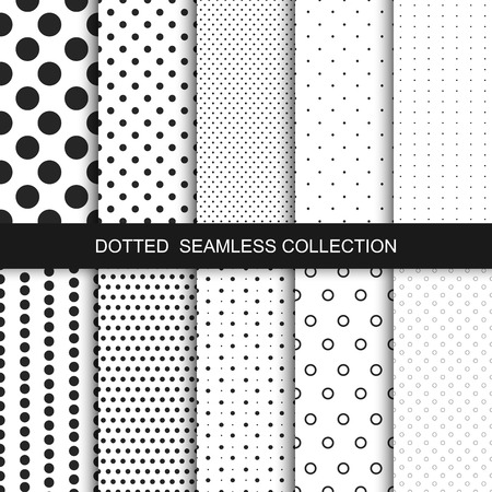 pattern is: Simple dotted patterns. Seamless vector collection. Black and white texture.