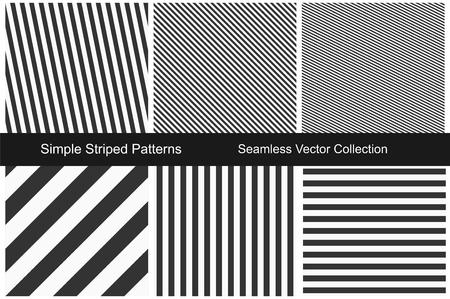 Gestreepte patronen. Naadloze vectorinzameling. Zwart en wit textuur. Vector Illustratie