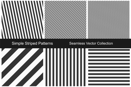 Striped patterns. Seamless vector collection. Black and white texture. Vektorové ilustrace