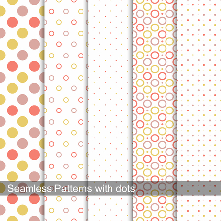 Collection of dotted seamless patterns in memphis colors, fashion style 80s-90s.