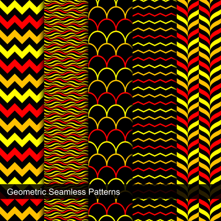 vibrant color: Collection of geometric seamless patterns. Vibrant color patterns.