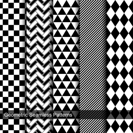 colection: Collection of geometric seamless patterns. Tile black and white texture.