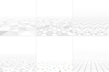 smooth surface: Collection of abstract backgrounds with perspective. Tile infinity mosaic cover.