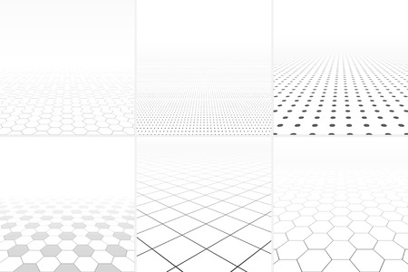 smooth surface: Collection of abstract white backgrounds with perspective.