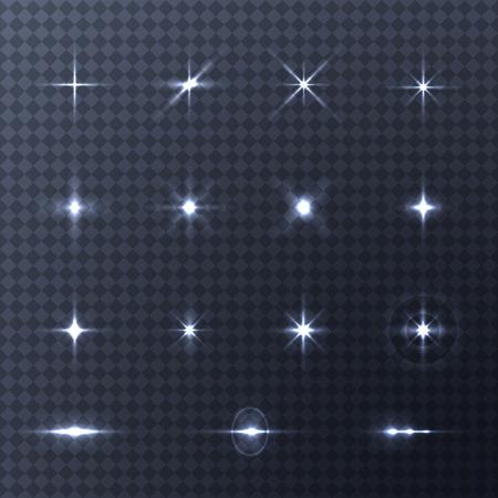 Collection d'effets de lumière de vecteur sur fond transparent. Éclair de vecteur pour votre conception et vos idées Vecteurs