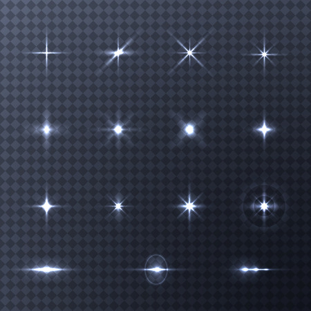 deisgn: Collection of vector light effects on transparent background. Vector flash lights for your deisgn and ideas