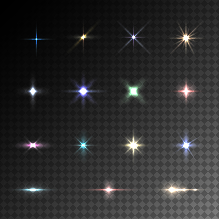 flare light: Collection of vector colorful flare light effects on transparent background. Illustration
