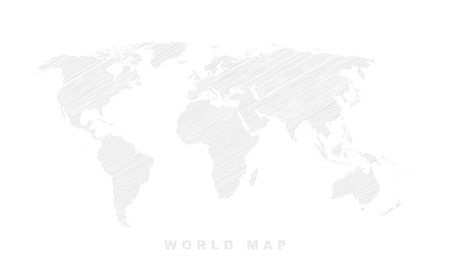 Shaded world map. Vector illustration - white and gray texture.