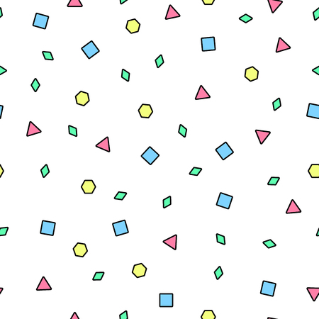 Vector mosaic seamless pattern with color geometric shapes. Retro memphis style, fashion 80-90s.