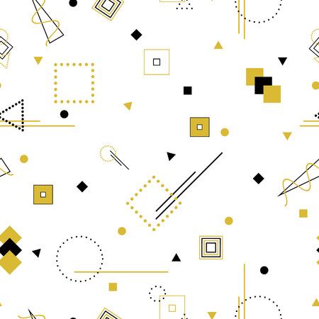 Vector abstract naadloos patroon met contour geometrische vormen. Retro Memphis hipster stijl, mode 80-90s. Stock Illustratie