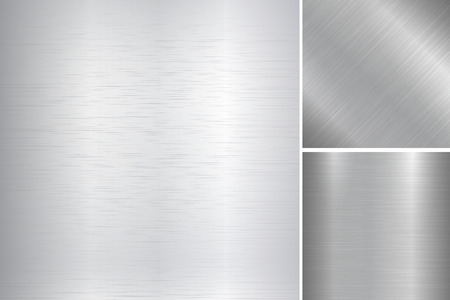 metal surface: Vector collection of bright metallic brushed textures.