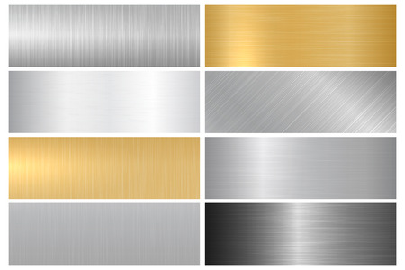 Metal textures. Vector collection of metallic textures, panels and banners for your design and ideas. Çizim