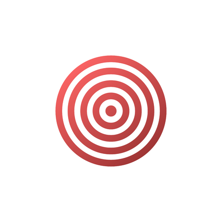 achieved: Target icon - vector background. Red icon isolated on white.