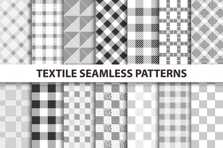 dot surface: Set of textile seamless patterns. Black and white texture.