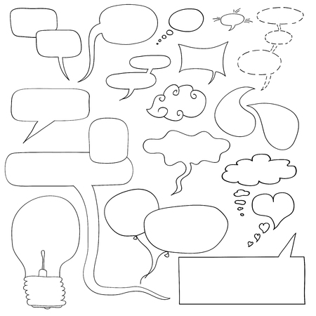 free place: Handdrawn vector dialog windows, frames, light bulb idea. Space for your ideas and your content. Illustration