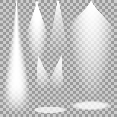floodlight: Set of white transparent spotlights. Vector light rays for your design and ideas.