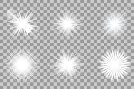 solar flare: Collection of vector lights effects on transparent background. Flashes for your design and ideas..