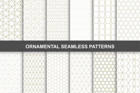 装飾用パターン - シームレスなベクトル コレクション。豪華なグリッド デザイン。