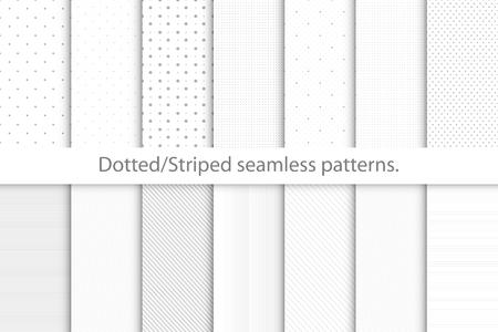 Verzameling van delicate naadloze zwart-wit patronen. Gestippelde, gestreepte textuur. Vergelijkbaar met papieren texturen. Vector Illustratie