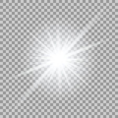 ベクトル透明の背景上の輝く光の効果。