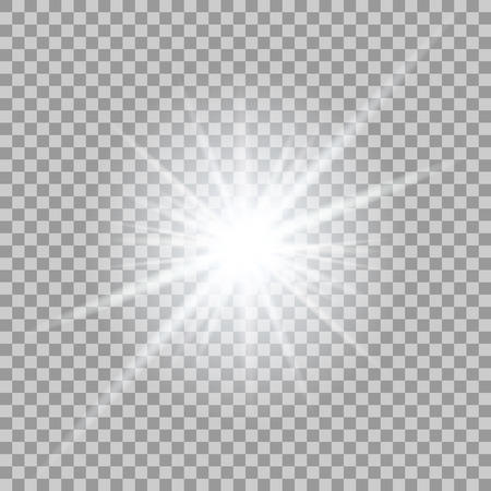 Vector glowing light effect on transparent background.