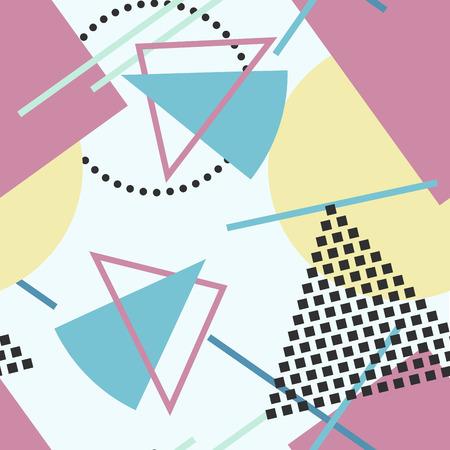 Vector abstract naadloos patroon met geometrische vormen. Retro memphis stijl, mode 80-90s.