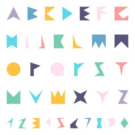 memphis: Color font. Vector english alphabet in memphis style. Stock Photo