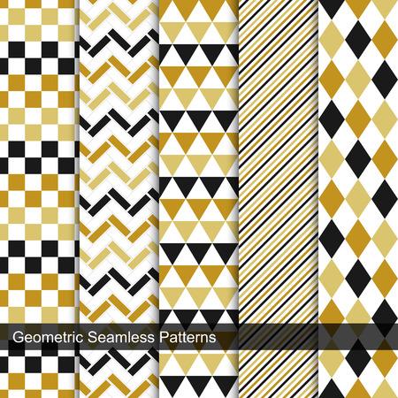 Collection of geometric seamless patterns. Retro design. Stock Photo