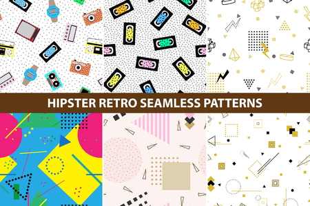 pager: Collection of hipster retro memphis patterns. Seamless backgrounds with geometric shapes and also with retro electronics. Retro memphis style, fashion 80-90s. Stock Photo