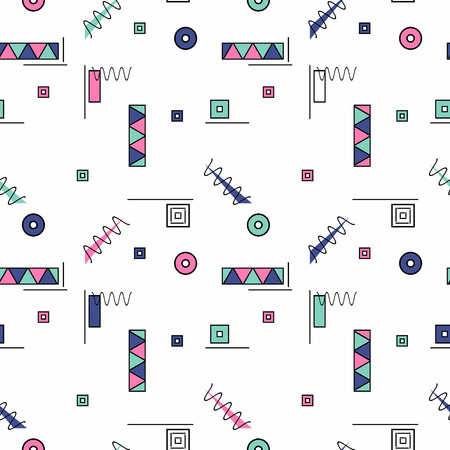 pattern of geometric shapes: Vector abstract seamless pattern with color geometric shapes. Retro memphis style, fashion 80-90s