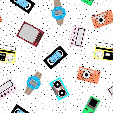 tetris: Memphis hipster pattern - seamless. Vector background of retro video cassettes, tape recorder, clocks, tetris, TV, tape cassettes, pager. Retro memphis style, fashion 80-90s.