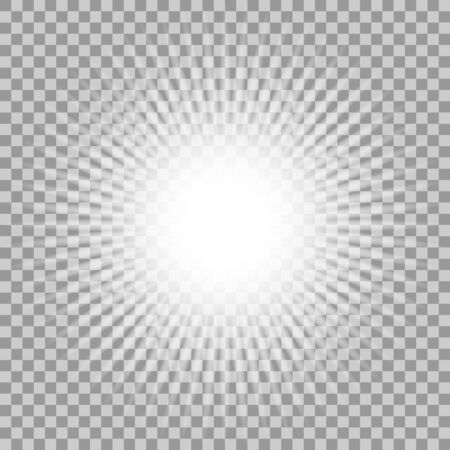 solar flare: Vector glowing light effect on transparent background.