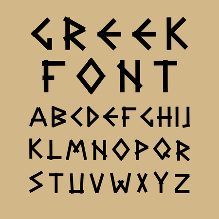 english alphabet: Vector english alphabet in ancient style. Greek design. Stock Photo