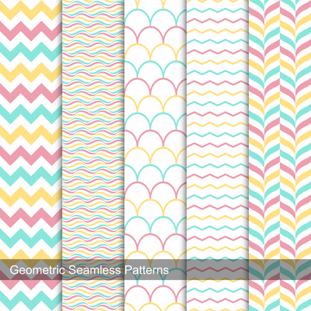 colection: Collection of geometric seamless patterns in memphis colors, fashion style 80s-90s. Stock Photo