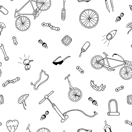 Vector naadloos patroon in doodle style.Bicycle accessoires.