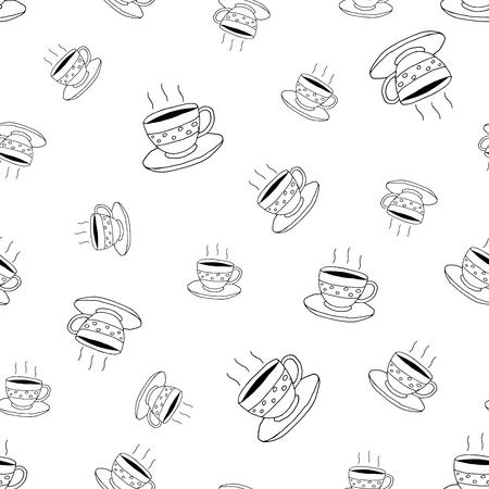 Koffie naadloze patroon in doodle stijl.