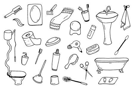 bathtime: Bathroom accessories collection. Doodle style.