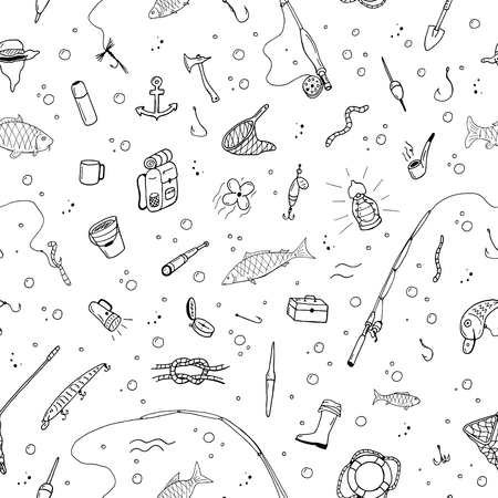 Fishing seamless pattern in doodle style. Illustration
