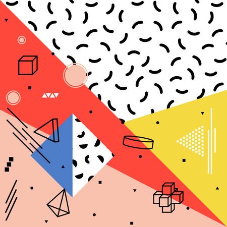 Abstract vectorpatroon met geometrische vormen. Retro stijl van Memphis