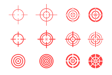 Collection of target icons on white background. Aim signs set.