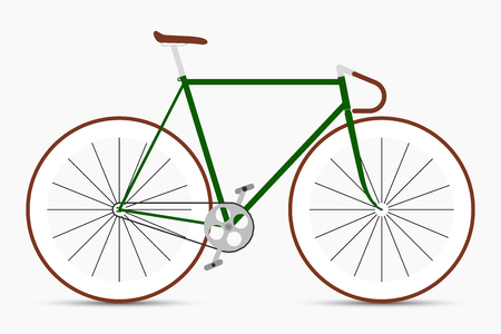 Hipster single speed bike in green and brown colors. City bicycle Illustration