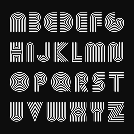 Vector striped english alphabet. Linear font. Illustration