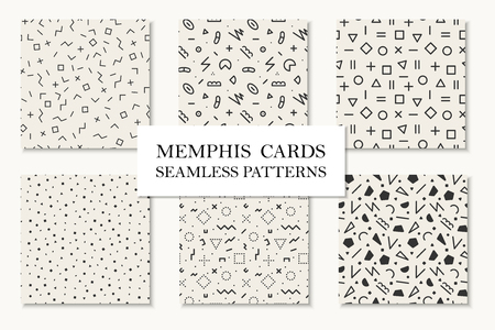 repetitive: Collection of seamless memphis geometric patterns, cards. Mosaic shapes design, Trendy repetitive backgrounds. Retro fashion style 80 - 90s.