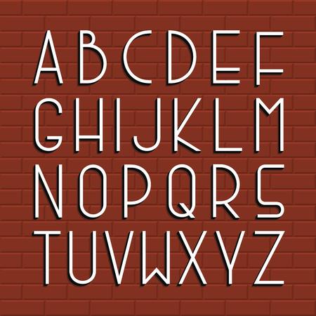 Thin retro font. Vector english alphabet.