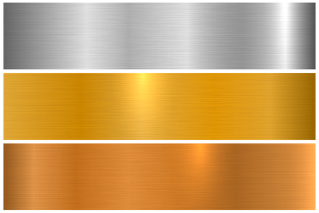 Collection of bright colorful metallic textures. Shiny polished metal banners