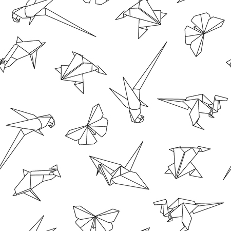 Vector Seamless Pattern With Origami Animals Abstract Creative - Origamis-animales