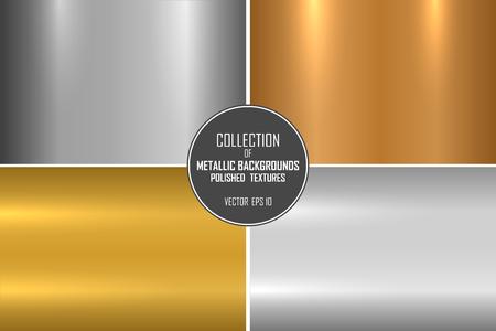 Kolekcja realistycznych metalicznych tekstur. Błyszczące polerowane metalowe tła dla swojego projektu. Ilustracje wektorowe