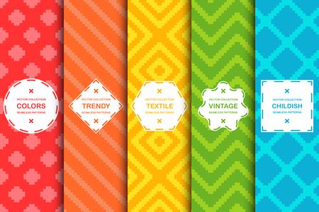 Ensemble de motifs élégants sans couture colorés - design dynamique. Arrière-plans créatifs textiles. Texture de tissu brillant. Vecteurs
