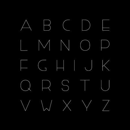 Vector minimalistic font - creative English alphabet, thin latin letters.