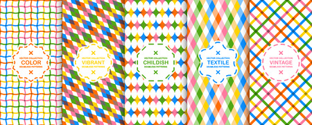 Collection of vector colorful decorative backgrounds - seamless geometric childish patterns. Vibrant repeatable textures.